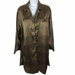 Morgan Taylor Leopard Button Up Long Sleeve Nighty